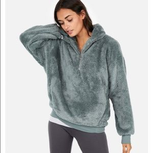 Express One Eleven Fleece 1/4 ZIP Sage Green